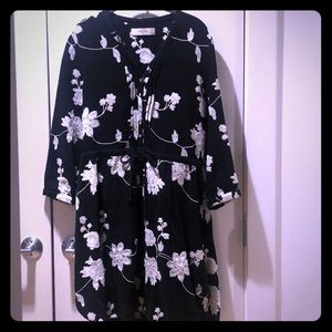 Anthropologie Embroidered Floral Shirt Dress